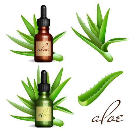 Realistische Aloë Vera en etherische olie fles. Cosmetische vial, flacon Vector Illustratie