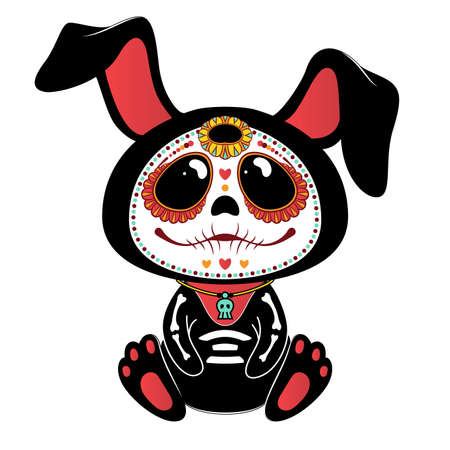 Day of the Dead (Dia de los Muertos) style bunny Çizim