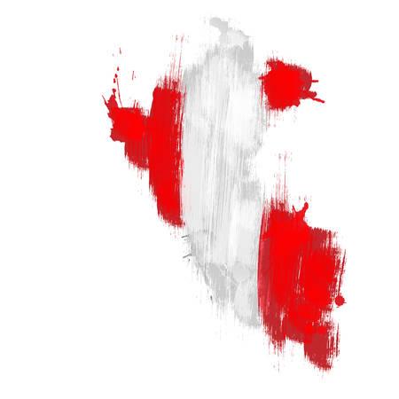 mapa del peru: grunge mapa del Perú con la bandera Peruano Vectores