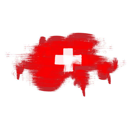 swiss insignia: Grunge map of Switzerland with Swiss flag Illustration