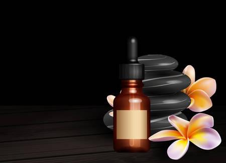 zen stones: Realistic essential oil bottle, frangipani flowers and zen stones