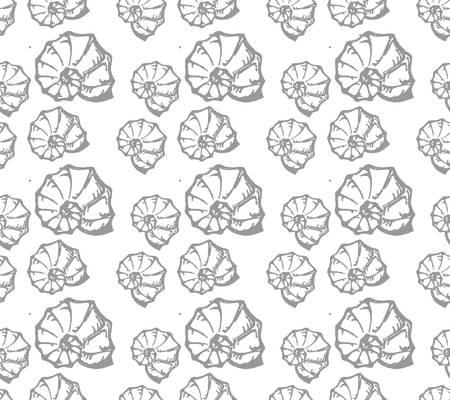 nautilus shell: Sea shell seamless pattern Illustration