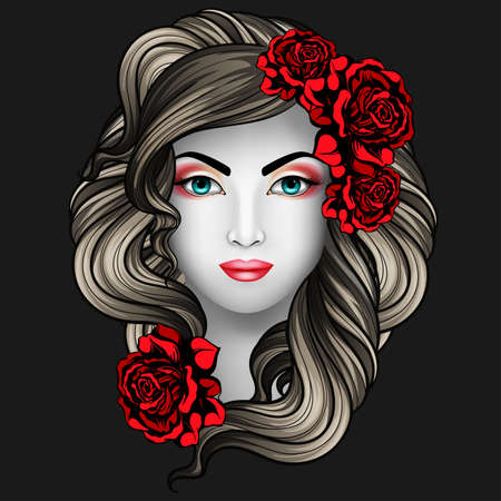 lady in red: Girl with roses tattoo concept