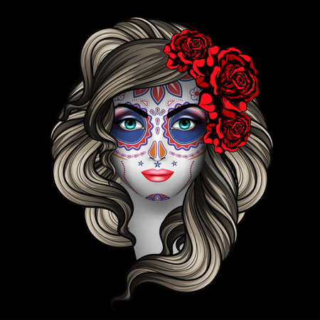 Woman with calavera makeup. Day of the Dead (Dia de los Muertos) concept Illustration