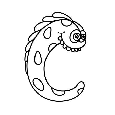 worm snake: Monster alphabet coloring pages: letter C Illustration
