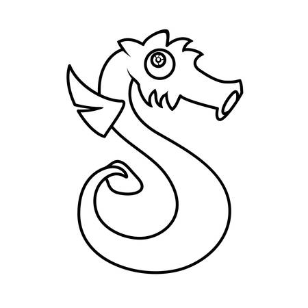 child s: Monster alphabet coloring pages: letter S Illustration