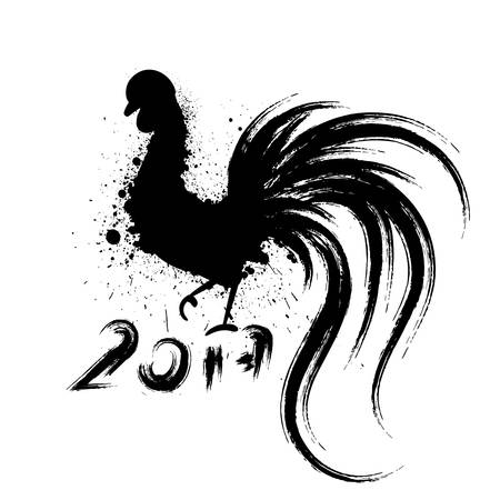 chinese calligraphy: Grunge rooster silhouette. Symbol of year 2017