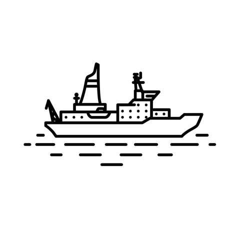 power boat: Flat linear ice breaker ship illustration