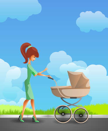 pram: Young mother pushing the pram Illustration