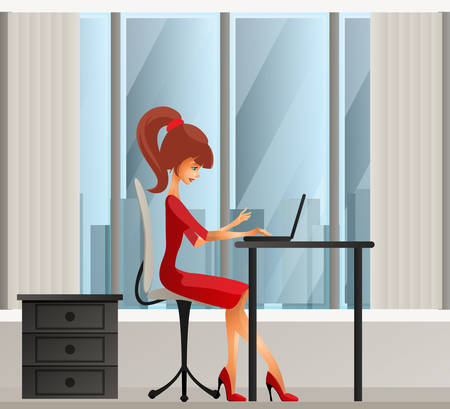 girl laptop: Young secretary or business woman sitting behind laptop Illustration