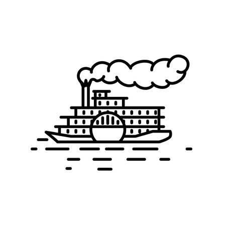 mississippi river: Flat linear retro steamboat illustration