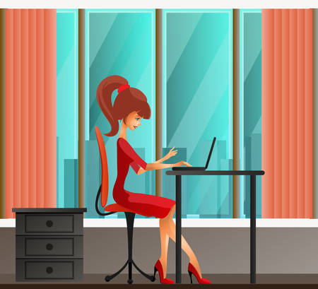 women: Young secretary or business woman sitting behind laptop Illustration