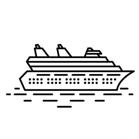 cruise ship: Flat linear cruise liner illustration