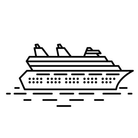 Piatto illustrazione nave da crociera lineare