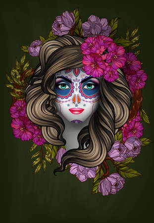 face to face: Woman with calavera makeup. Day of the Dead (Dia de los Muertos) concept Illustration