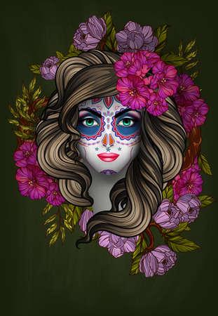 tattoo face: Woman with calavera makeup. Day of the Dead (Dia de los Muertos) concept Illustration