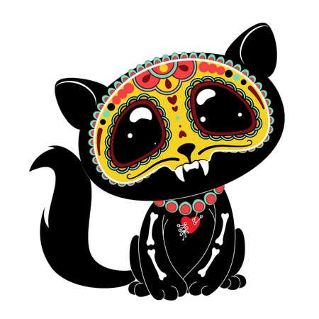 Día de los muertos (Día de los Muertos) gatito estilo Ilustración de vector