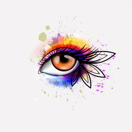 Oog van de vrouw maakte kleurrijke spatten. Creatieve make-up concept