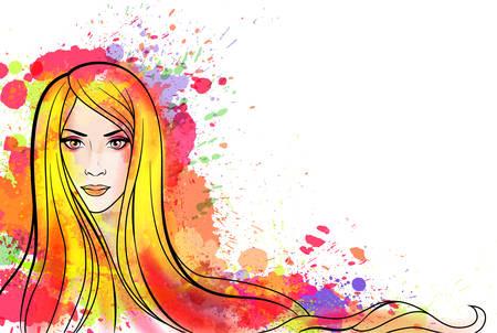 Jonge vrouw portret met kleurrijke plonsen Vector Illustratie