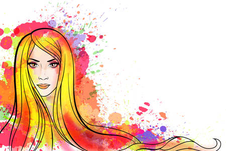 Young woman portrait with colorful splashes Vetores