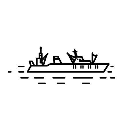 marine industry: Flat linear seiner illustration