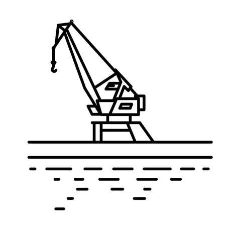 Flat linear port crane illustration