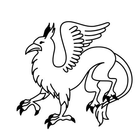 mythology: Flat linear griffin illustration