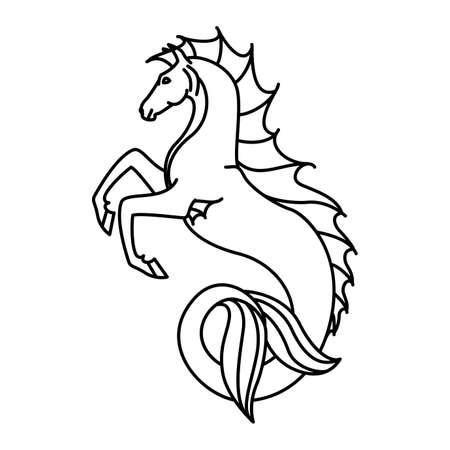 Piatto illustrazione ippocampo lineare