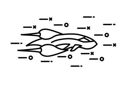 astronomie: Dünne Linie flaches Raumschiff Illustration
