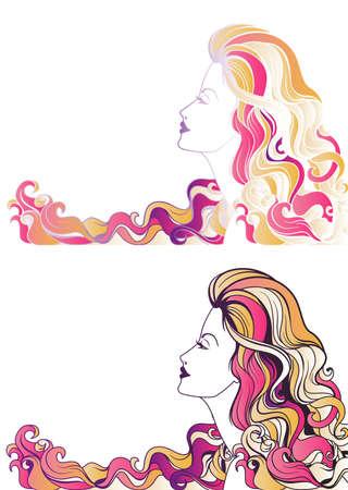 perfil de mujer rostro: Joven y bella mujer retrato colorido