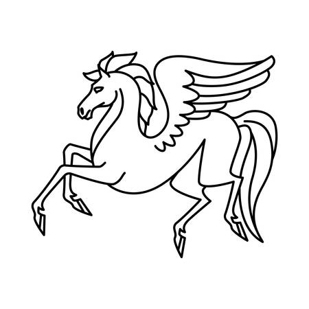 horses in the wild: Flat linear pegasus illustration Illustration