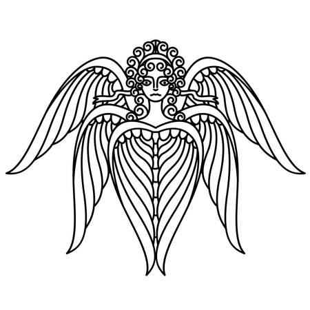 seraphim: Flat linear seraphim illustration Illustration