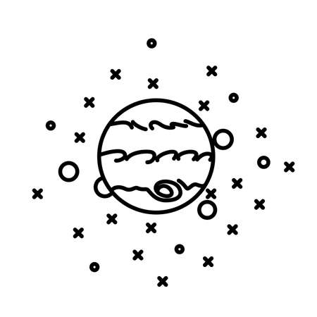 jupiter: Flat style planet Jupiter in front of stars Illustration