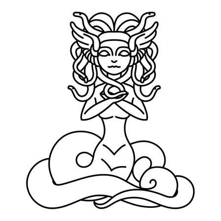 diosa griega: Piso ilustración lineal medusa Gorgona
