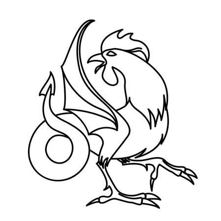 salamandre: Plat linéaire cockatrice illustration