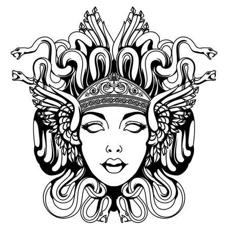 Medusa gorgon portrait Vettoriali
