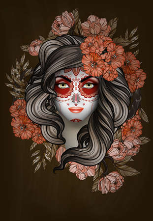 Woman with calavera makeup. Day of the Dead (Dia de los Muertos) concept Illustration