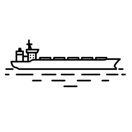 vessel: Flat linear dry cargo or bulk carrier ship illustration