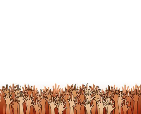 voting: Hands raised upwards volunteering or voting