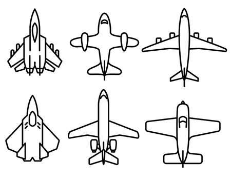 jet: Thin line airplane icons set Illustration