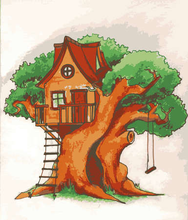 cubby: Tree house. House on tree for kids. Children playground with terrace, swing and ladder illustration