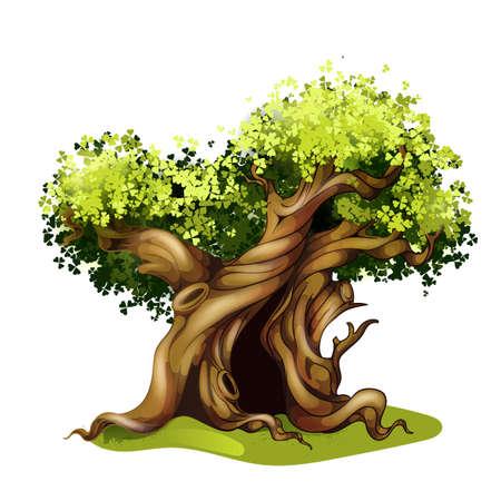 ocas: ilustración de roble estilo de dibujos animados. cuento árbol mágico.