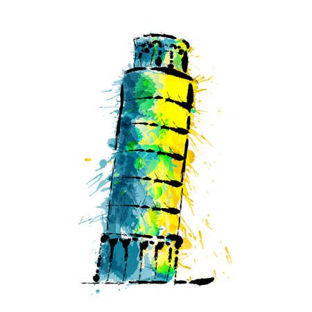 Leaning tower of Pisa made of colorful splashes Illustration