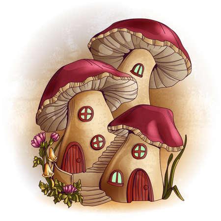 flor caricatura: Mushroom houses fairy tale illustration