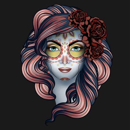 Mujer con el maquillaje de calavera. Día de los muertos (Día de los Muertos) concepto