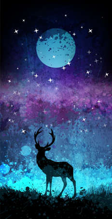 hush hush: Deer silhouette in front of bright night sky with moon and stars Illustration