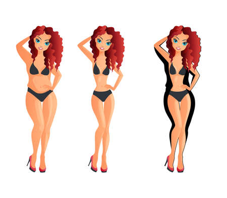 female girl: Isolated weight loss white woman, fat female and slim, healthy concept, before and after, young girl overweight vector illustration