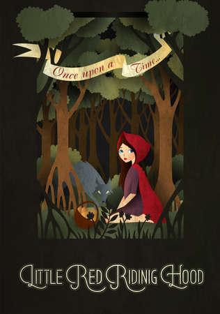 少しの赤ずきんちゃんとオオカミの森のおとぎ話イラストの前に  イラスト・ベクター素材