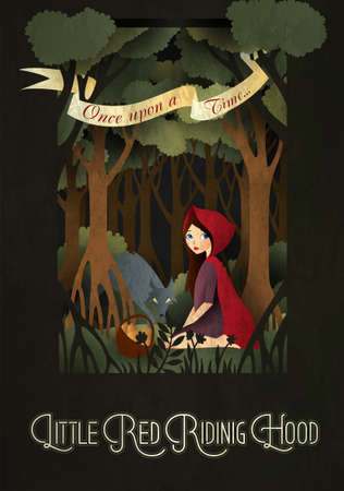 Little Red Riding Hood and wolf in front of forest fairy tale illustration