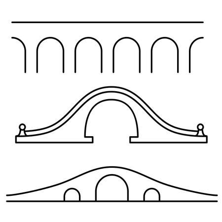 Set of three different line art style bridges